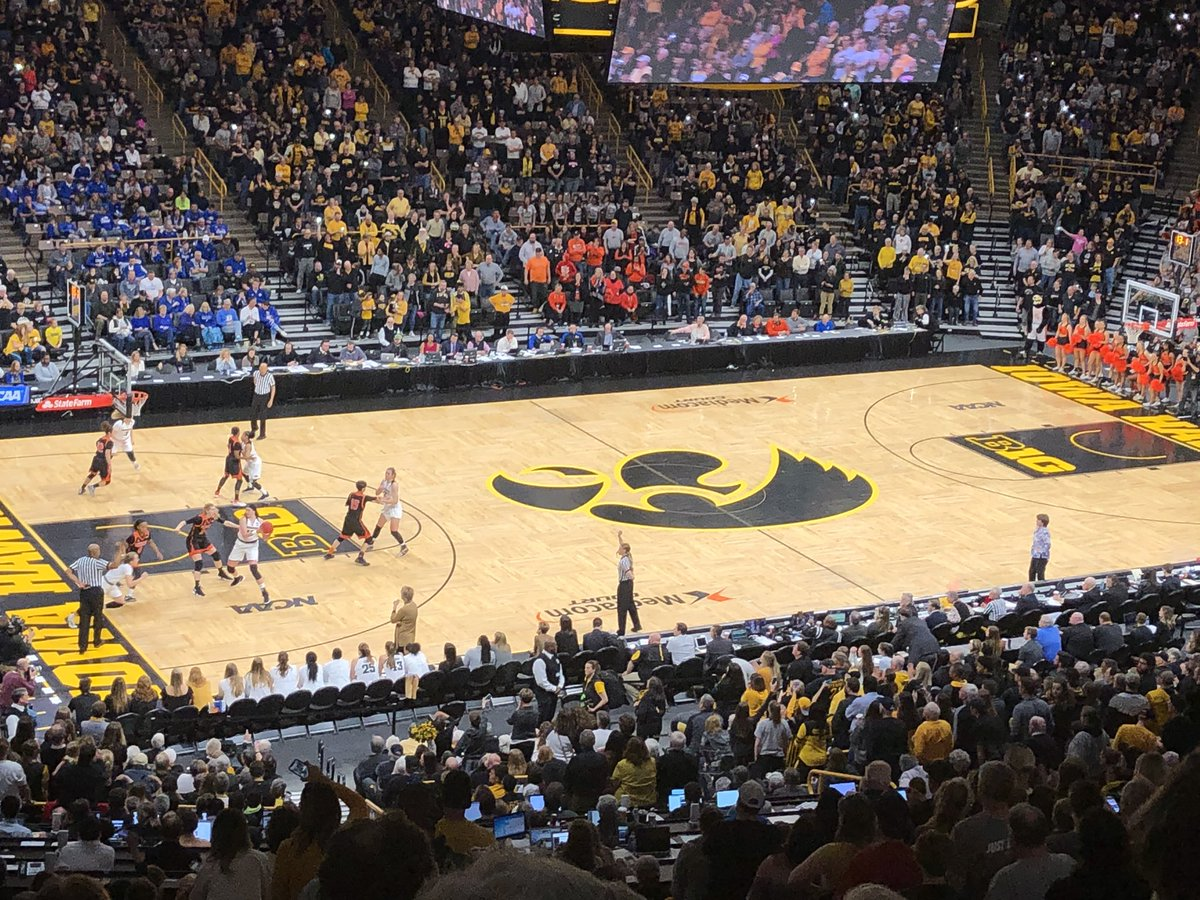 Great atmosphere #hawks! Losing TO battle 24-3 is recipe for disaster but @IowaWBB overcomes sloppy play, survives and advances in #ncaaW 🏀tournament ! Hats off to @MercerBears