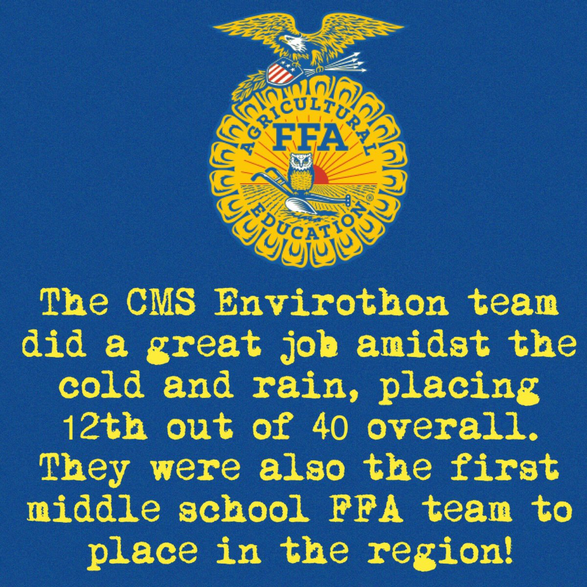 We're so proud of our FFA Envirothon team, who placed 12th out of 40 on Thursday and were also the first middle school FFA team to place in the region!! Great day overall! @amandaturner23 @allisonjdunn #cmsffa #watchussoar <br>http://pic.twitter.com/ObiLEstq6x