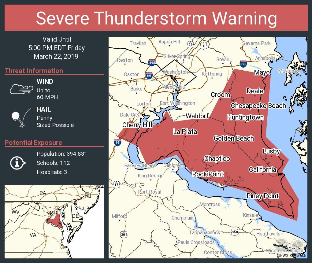 Severe Thunderstorm Warning including Waldorf MD, Cherry Hill VA, Neabsco VA until 5:00 PM EDT