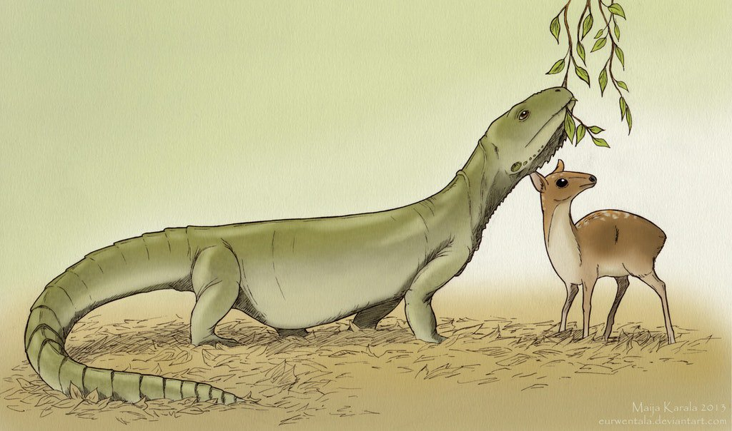 Barbaturex, a 1.8 meter long lizard from prehistoric Myanmar, feeding next to an ariodactyl from the same formation.  (Credit: Maija Karala) <br>http://pic.twitter.com/EmY5rr3JkL