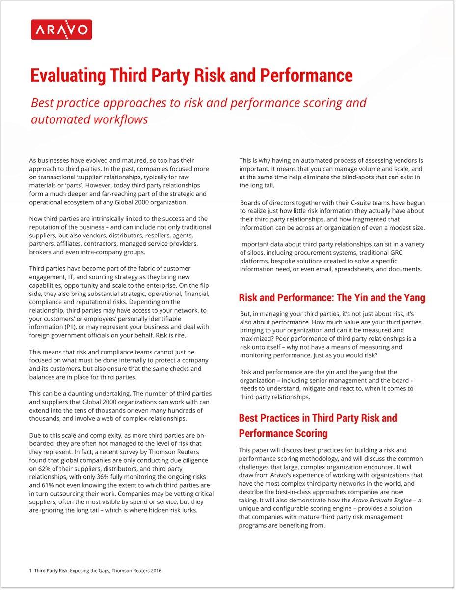 Aravo's Evaluate Engine Technical Paper- Best Practices to #Risk, Performance #Scoring & Automated #Workflows http://bit.ly/2Furxp6  . #supplierrisk #tprm #scm #audit #srpm #procurement #cyberrisk #vendorrisk #iot #irm #oprisk #eerm #supplier #gdpr #thirdpartyrisk #grc #vrm