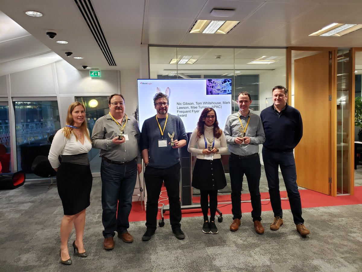 Congratulations to all the @MarkLogic EMEA Consulting Award Winners - these were our #AllStar Travellers #ThankYou #WeAreMarkLogic #MLTechSummit