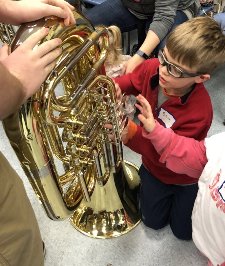 Young learner&#39;s with vision impairment had an opportunity to listen and touch instruments used in band paly. Thanks to @RobinsonRams @robinson_band #inclusion #MusicEducation  <br>http://pic.twitter.com/DmlSanFAzd