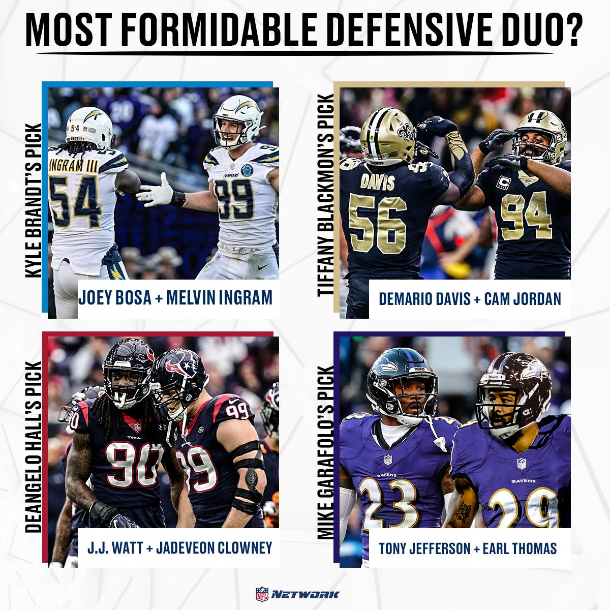 Who is the NFL&#39;s most formidable defensive duo?   The @gmfb crew gave their picks <br>http://pic.twitter.com/zMDFPz4heO