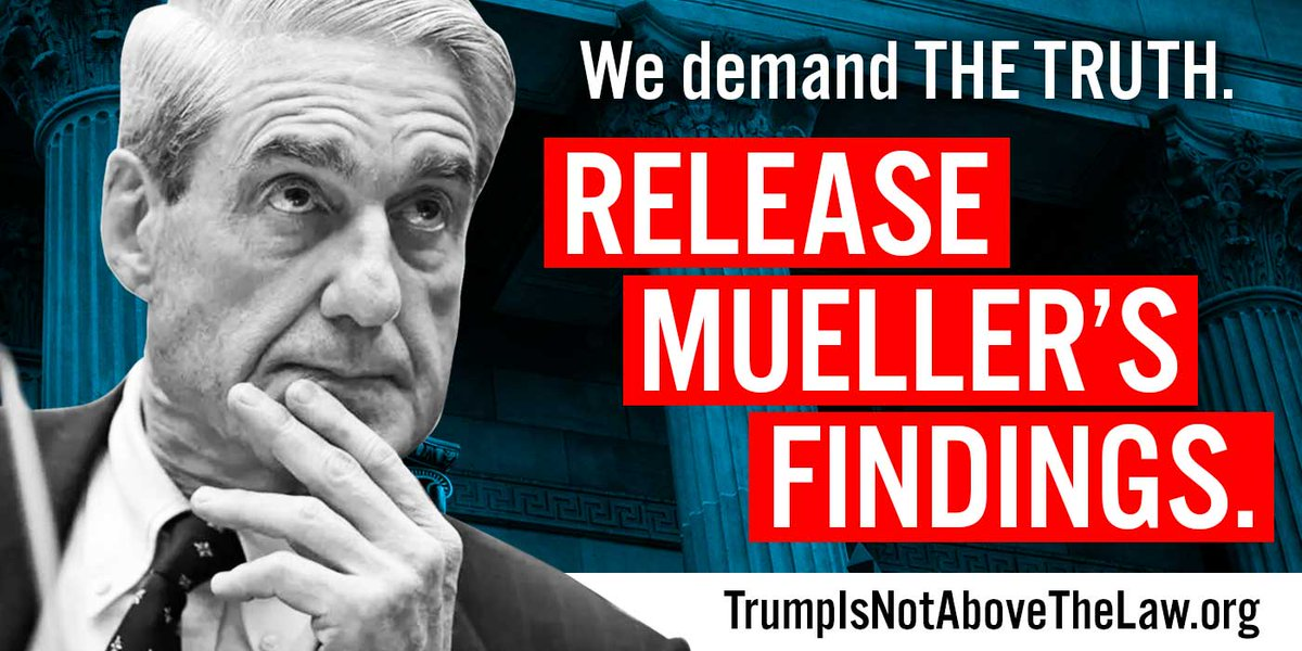 Fellow citizens, we must demand the truth. It is time for us to see every word, every mark of punctuation, every piece of evidence, every supporting document in the Mueller report. Sign up to be ready to protest:   https:// act.moveon.org/event/mueller- firing-rapid-response/search/?source=MFTm &nbsp; …  #releasethereport<br>http://pic.twitter.com/wInaNvIZLG
