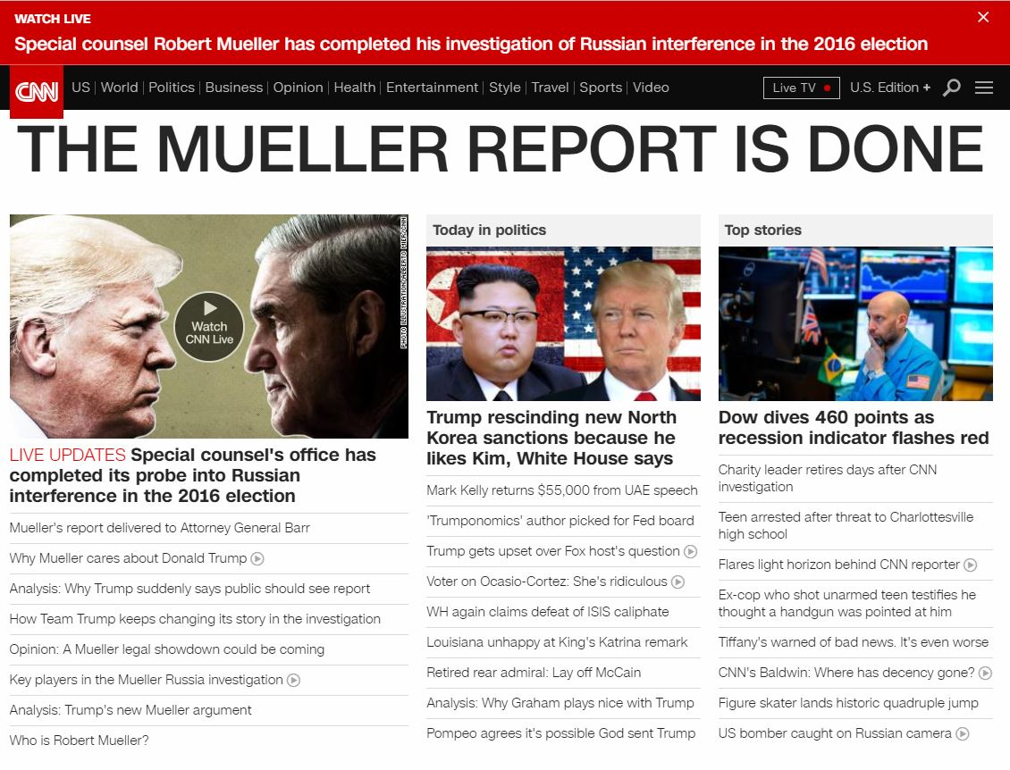 .@CNN home page: THE MUELLER REPORT IS DONE