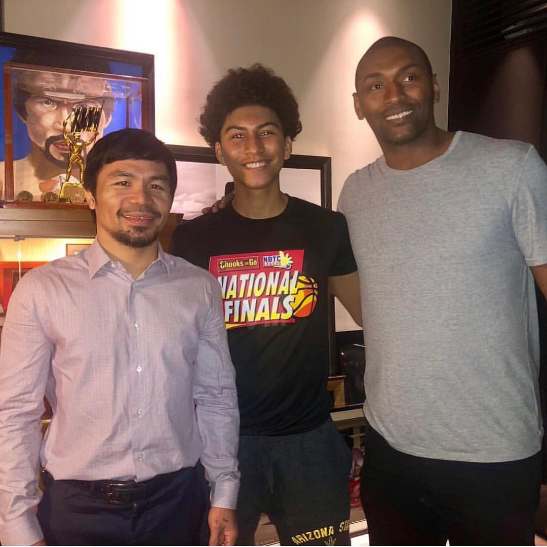 Manny Pacquiao with Metta World Peace and Jeron Artest in the Philippines.   (Via @xvsxsports)