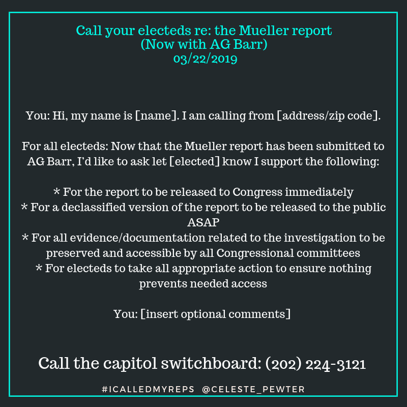Script re: the Mueller report - 3/22/2019