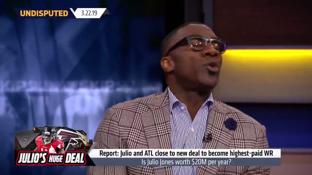 """""""@juliojones_11, let me get a loan I can't pay back. ... He deserves it. I believe he's the best WR in football, and he does it the right way.""""  @ShannonSharpe reacts to reports that the Falcons are closing in on a deal to make Julio the highest-paid WR"""
