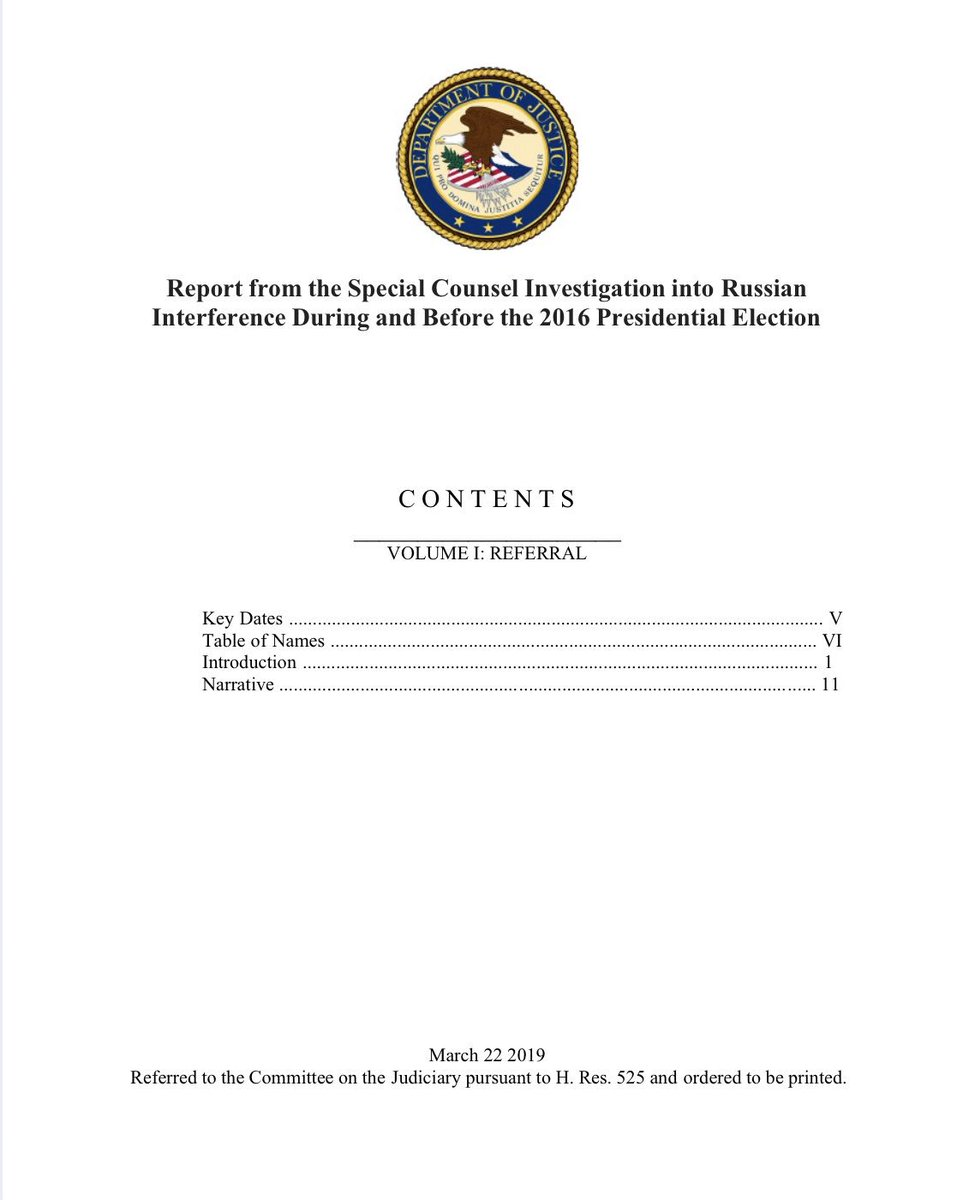 #BREAKING: The complete Mueller report was just leaked to me:   https://www. scribd.com/document/40280 0029/Report-from-the-Special-Counsel-Investigation-into-Russian-Interference-During-and-Before-the-2016-Presidential-Election &nbsp; … <br>http://pic.twitter.com/7jXAKE3XMq