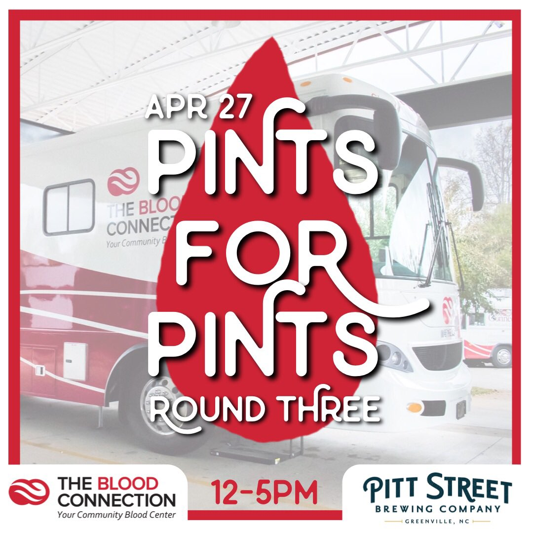 Round 3! The Blood Connection will be here Saturday, April 27th from 12-5pm. Anyone who donates will receive a $20 Pitt Street Gift Card! Sign up with the links below.   Bus 1: https://donate.thebloodconnection.org/donor/schedules/drive_schedule/127685 …  Bus 2 https://donate.thebloodconnection.org/donor/schedules/drive_schedule/127686 …