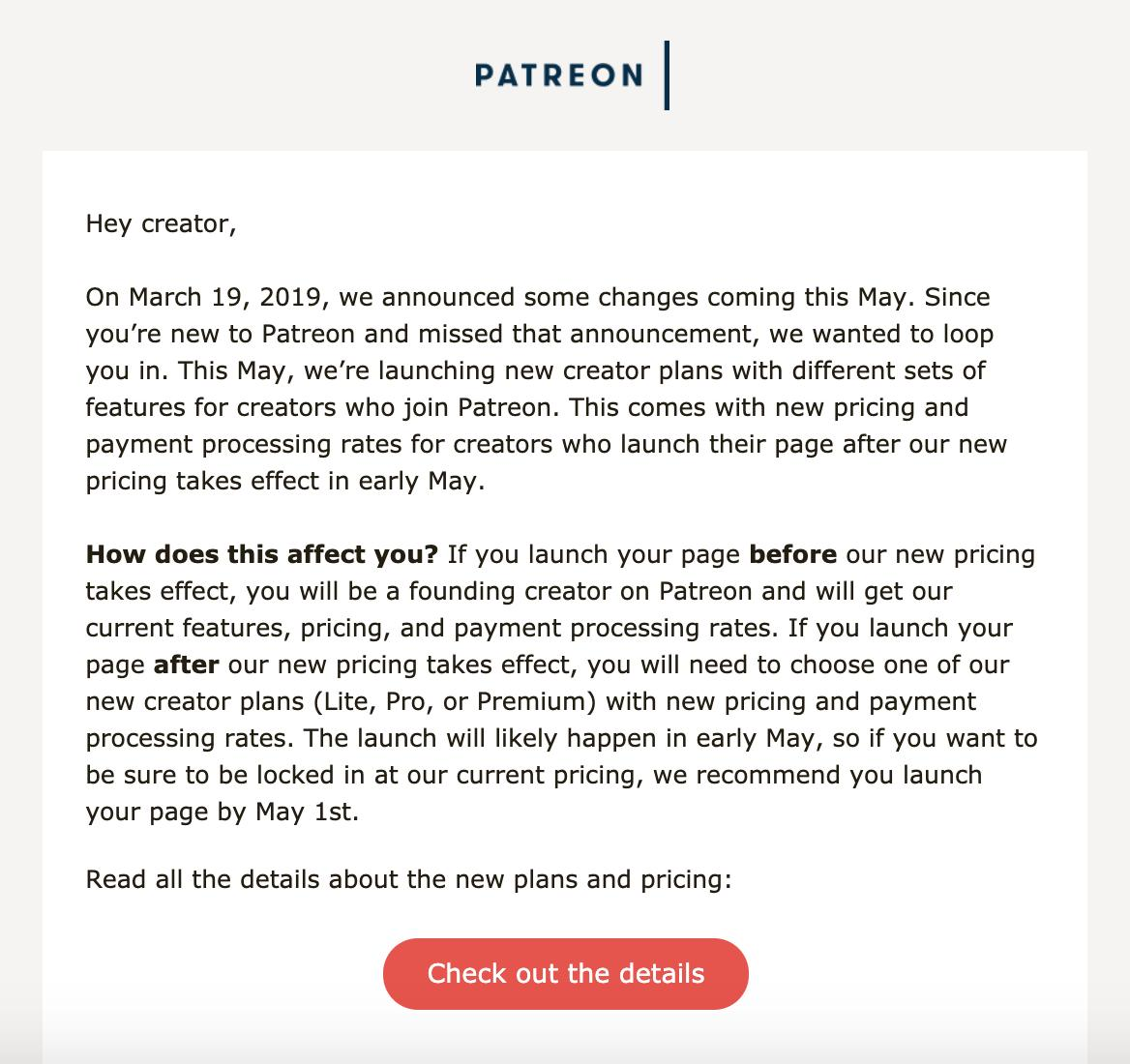 you&#39;ve probably heard about patreon&#39;s new creator plans rolling out soon, so if you&#39;re not a creator yet but have even the *tiniest* interest in launching a page in the future, just set it up now/before may 1! afaik you can launch it then let it sit <br>http://pic.twitter.com/CFStsuoqqO
