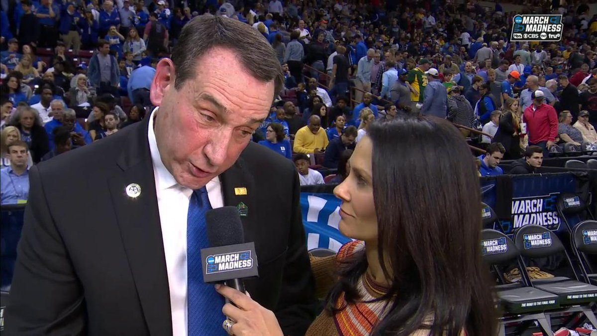 Coach K Sounded Absolutely Horrible During His Halftime Interview vs. NDSU