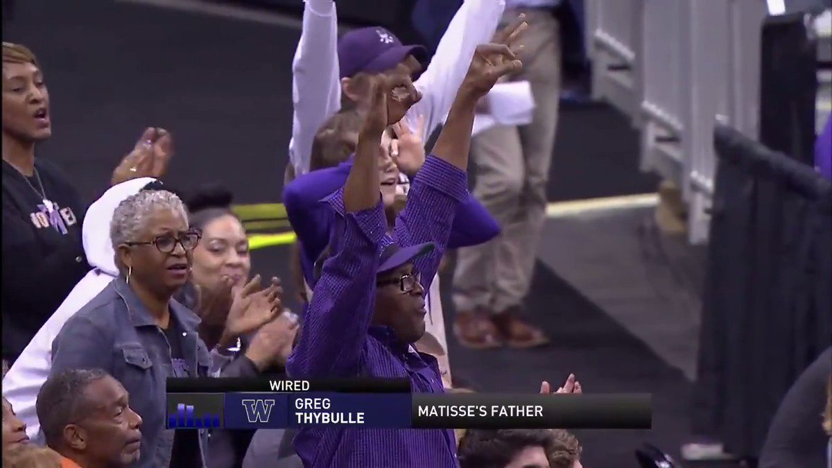 Matisse Thybulle's father is enjoying every minute watching his son! 👏  #MarchMadness | @UW_MBB