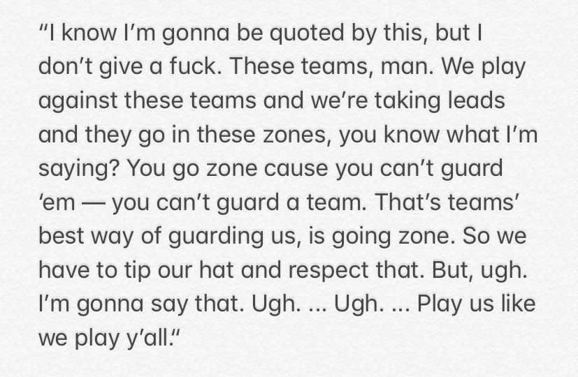 Patrick Beverley with a candid quote about teams — including the Cavs tonight — going zone against the Clippers recently.