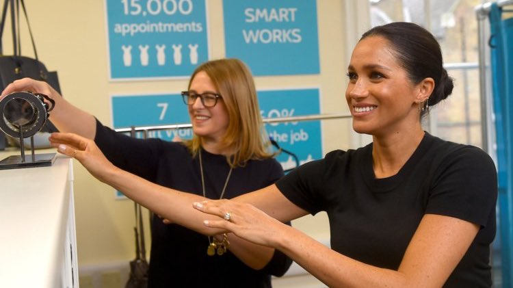 Still busy! Duchess Meghan this morning attended a meeting with @SmartWorksHQ (and CEO @byKateStephens) at St Charles Hospital. The charity has been growing rapidly since Meghan became patron. In February they helped 187 women in London alone (47% more than this time last year). <br>http://pic.twitter.com/OiEVuUJH44