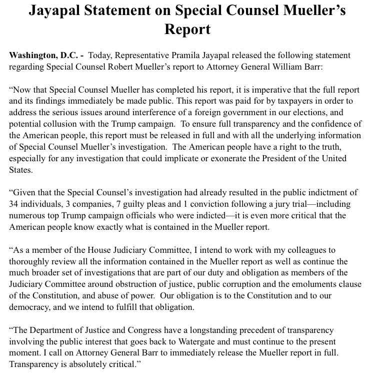 I look forward to AG Barr releasing the full Mueller report to Congress and the American people. The American people deserve nothing less than full transparency. As a member of @HouseJudiciary, I will continue to work to restore trust in our democracy.