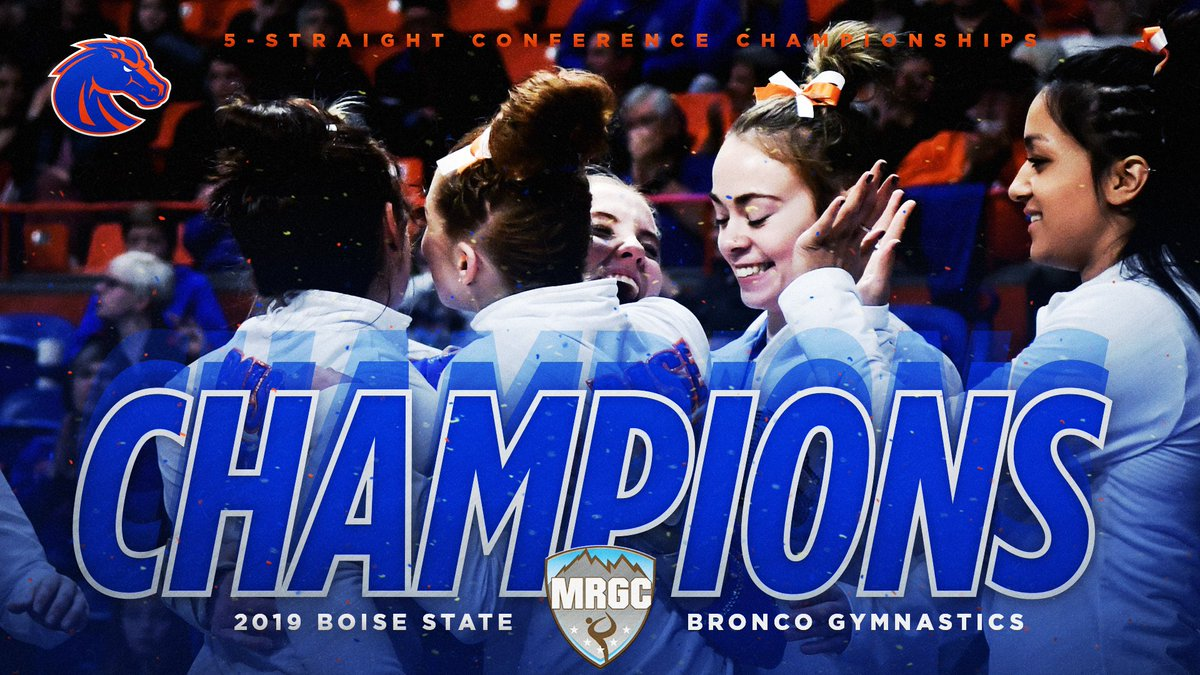 That&#39;s  in a row for your Broncos at the @mountainrim_gym Championships!  Final Standings:  1. Boise State (196.950) 2. Southern Utah (195.900) 3. BYU (195.750) 4. Utah State (193.775)  #BleedBlue #OwnIt<br>http://pic.twitter.com/qAKf4zfwW4