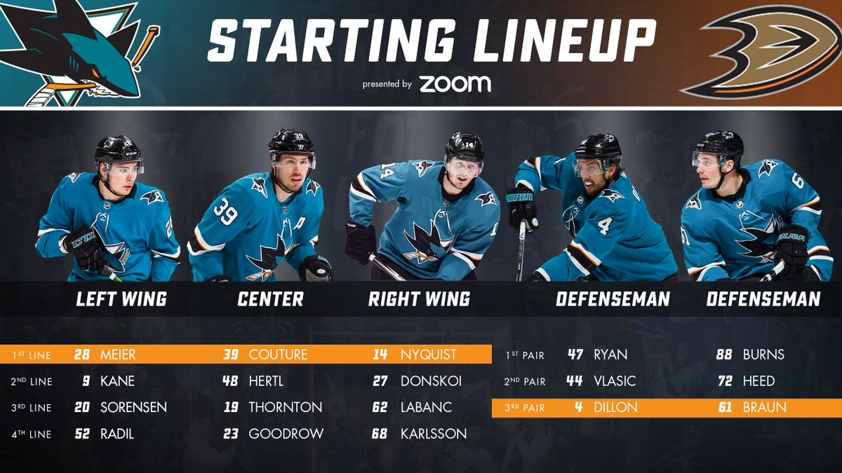 .@Logancouture is back and kicking things off for the #SJSharks . <br>http://pic.twitter.com/dm3geDx3bG