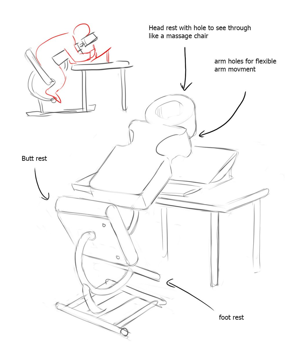 Hey someone who's an engineer, help me make this artist chair so I can rest my back and neck? Thanks!