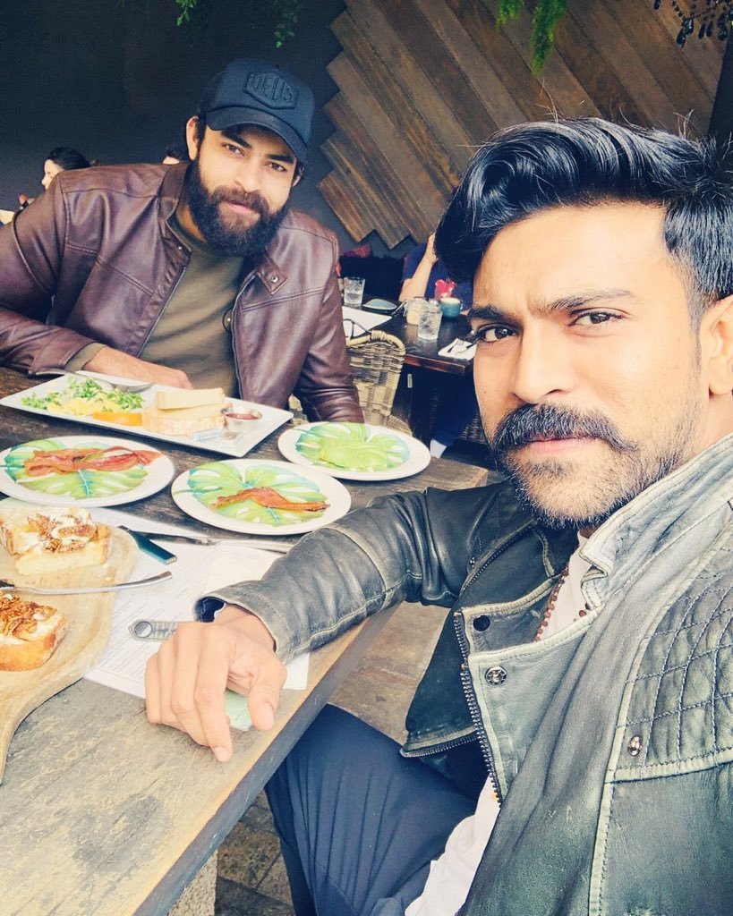The Handsome Brothers! 😍 Mr.C & the beard man   #ramcharan @IAmVarunTej #brotherslove pic.twitter.com/skxSwqTf1a