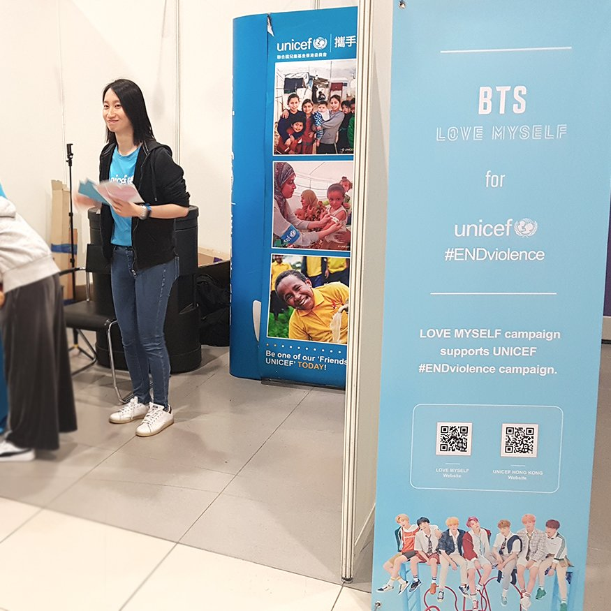 LOVE MYSELF for UNICEF  #ENDviolence booth at Hong Kong AsiaWorld Expo is open once again for the weekend! Thanks to everyone who came by during Mar 20-21.   Share your  and also check out #BTSLoveMyself banners &amp; LM merch at the booth! (Merch on sale  http:// bit.ly/2Sh2Dgu  &nbsp;  )<br>http://pic.twitter.com/JTH17vsu1a