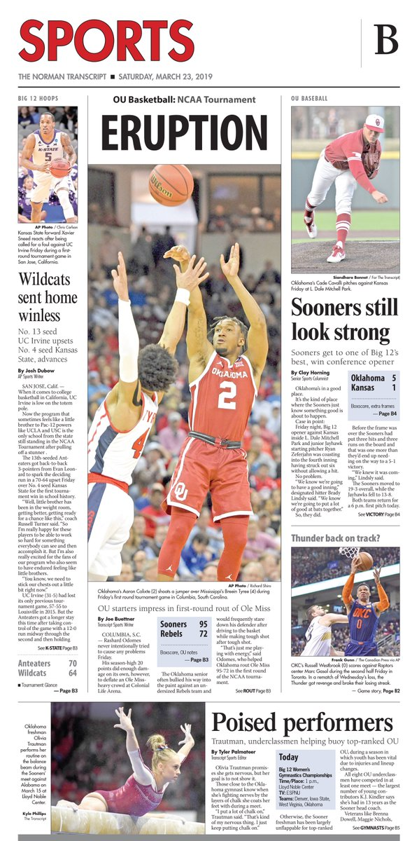 Transcript Sports page: #Sooners erupt for blowout win over Ole Miss in #MarchMadness opening round, story @ByJoeBuettner. #OKCThunder break losing streak vs. Raptors. OU Baseball takes a win over a Big 12 foe, from @Tpalmateer83. #PickOneUp