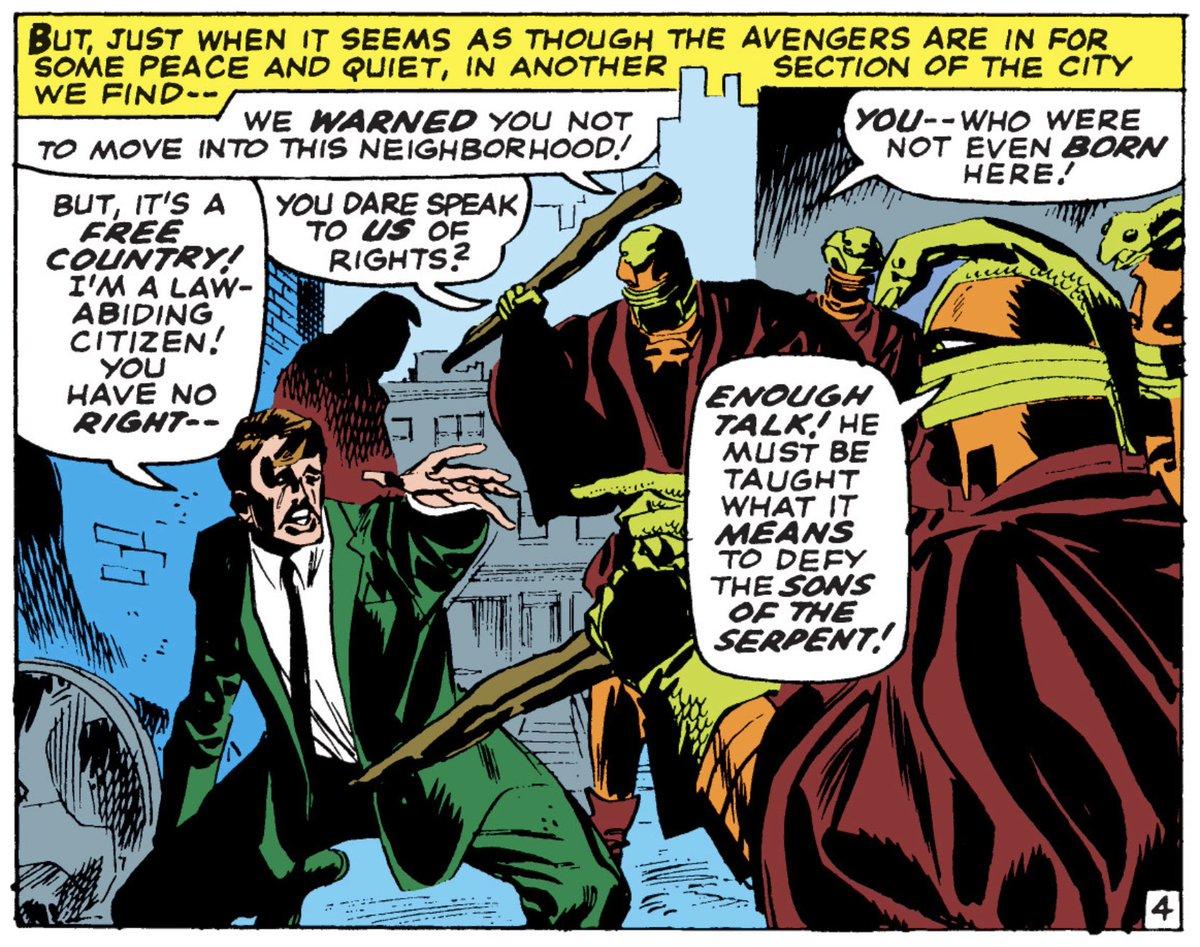 Remember when comics didn&#39;t push a progressive, inclusive, tolerant, anti-White Supremacist agenda?  Yeah, me neither.  Avengers 32, September 1966. Stan Lee, Don Heck. <br>http://pic.twitter.com/OqXdM4x2gU