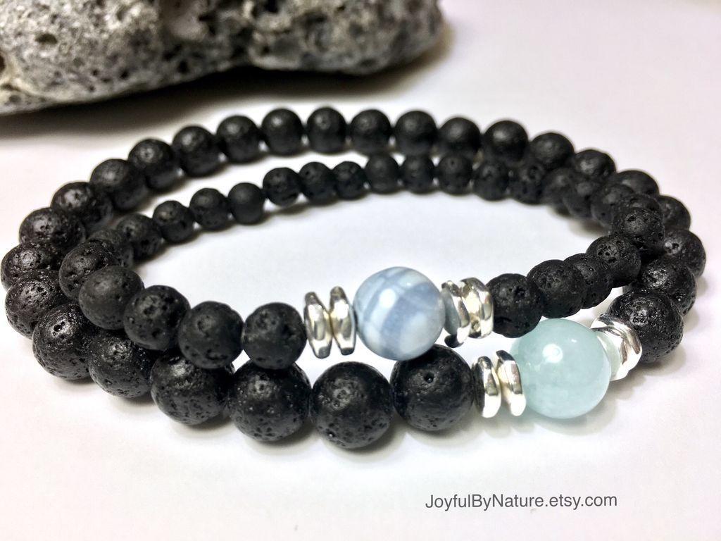 Lava and gemstone bracelet