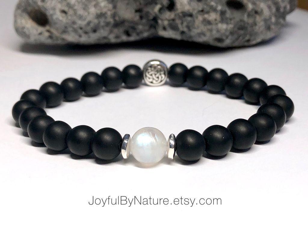 Moonstone and onyx Celtic knot bracelet