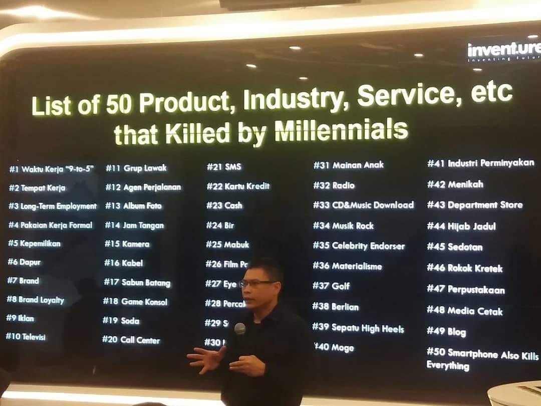 Ini dia list 50 produk, layanan, n industri yg DIBUNUH milenial.   Coba teliti satu2 siapa tahu Anda salah satu yg mjd KORBAN pembunuhan oleh milenial 🤣  #millennialsKILLeverything  @krismoerwanto @LalaArief @RabbaniProjects @SydSalesman @lahandi @eliya_mkom @Gedeekasutresna