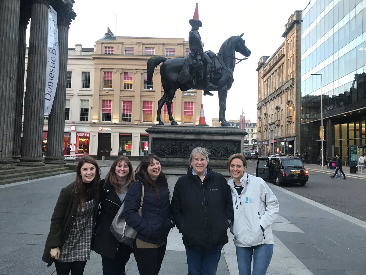 The Trust team having a quick tour of Glasgow before the Training Day 🏴#DukeofWellington #ConeHead
