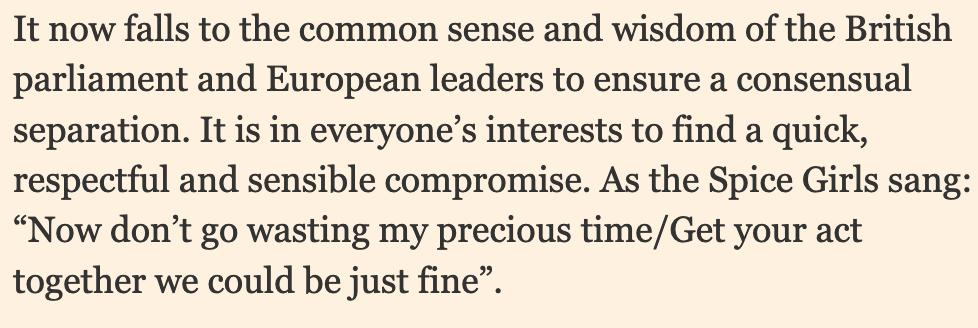 Former Italian PM Matteo Renzi quoting the Spice Girls in his FT column on Brexit is really something..  https://www. ft.com/content/bff3e9 0a-4c8f-11e9-bde6-79eaea5acb64 &nbsp; … <br>http://pic.twitter.com/ebkUhsk0Uw