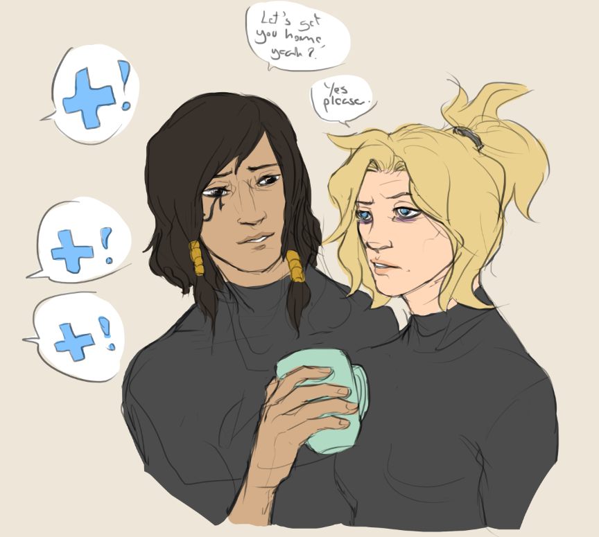 quick morning pharmercy doodle. please look out for your local healer and make sure they&#39;re hydrating properly #overwatch #pharmercy<br>http://pic.twitter.com/wEbrShlKuZ