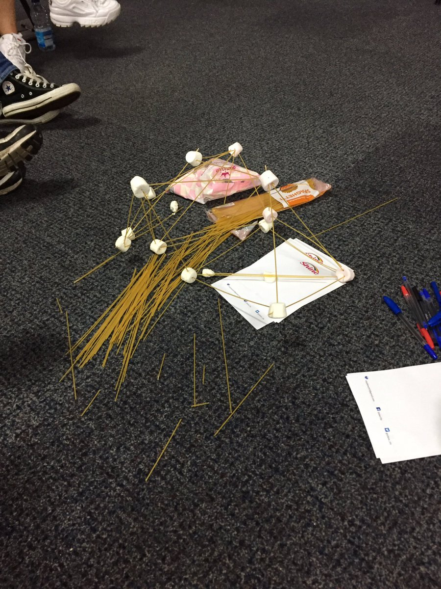 Marshmallow and spaghetti tower - it fell.