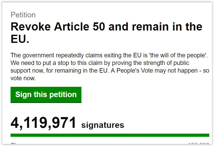 Now at: 4,119,971   #Motivation  Join in, sign here:  http:// bit.ly/2Fh1Abv  &nbsp;    #RevokeArticle50Petition  #DemocracyIsComing  #PeoplesVoteMarch  @LBC #Newsnight #bbcqt #bbcaq #r4today #PoliticsLive @BBCNews #c4news<br>http://pic.twitter.com/w0KthOHlSY