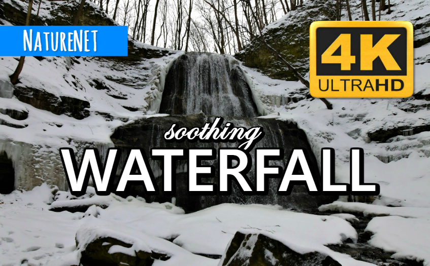 4K Snowy Waterfall   Unique Nature Sounds https://buff.ly/2UQP0pZ  #study #chill #relax #sleep #meditate #nap #waterfall #4K #nature