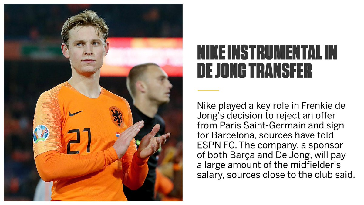 Nike played a key role in Frenkie de Jong's decision to reject PSG in favour of Barcelona, sources have told ESPN FC.   https:// es.pn/2YjqCiM  &nbsp;  <br>http://pic.twitter.com/vQ7GYn812N