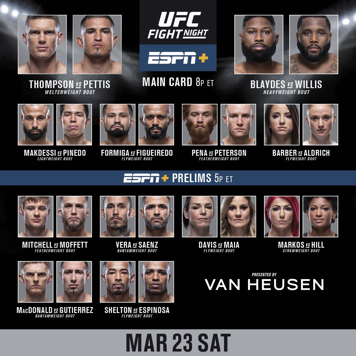 RT B/C IT'S FIGHT DAY‼️   #UFCNashville: @WonderboyMMA vs @ShowtimePettis goes down TONIGHT | 8pmET/5pmPT | LIVE on ESPN+! B2YB @VanHeusen