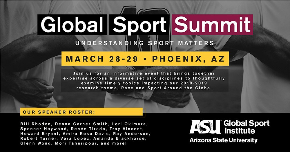 #GSSummit19 will bring together diverse disciplines for discussion and action inspired by race and sport around the globe.   To attend in #dtphx: http://globalsport.asu.edu/summit   Or catch the main programming via livestream: http://bit.ly/gs19live
