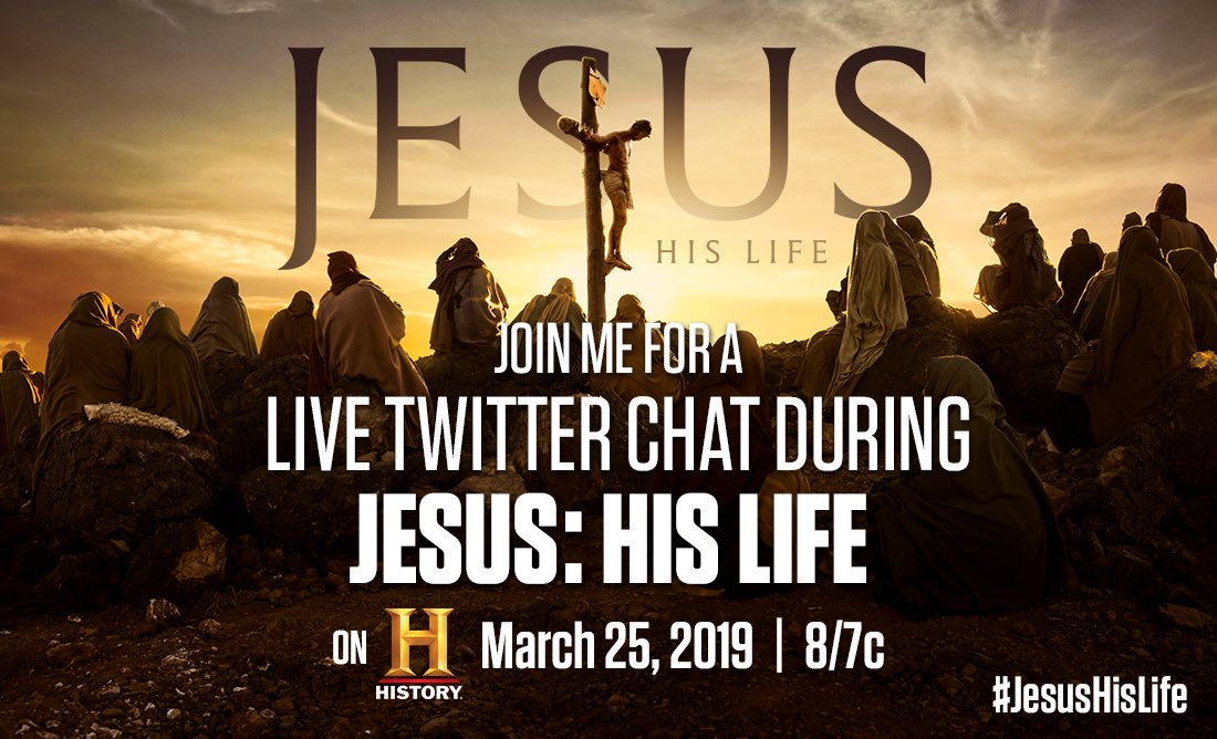 Let's talk about #JESUS!  Join me on Monday, I'll be live tweeting with a group of top voices in the faith community in a twitter chat during the premiere of  #JESUSHISLIFE - a 4 part series on @HISTORY that explores the life of Jesus -  Monday 3/25 at 8pm ET.  RT/Repost/Share
