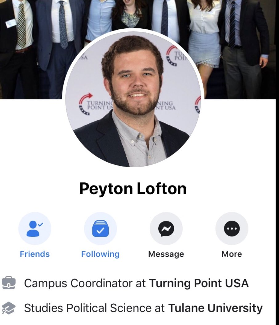 SICK AND DANGEROUS:  This is Peyton Lofton, our chapter leader for @TPUSA at Tulane  He was recently doxxed by the violent left for being a conservative  Last night his dorm room door was literally SET ON FIRE after he was doxxed  The violent left is targeting students!  RT!