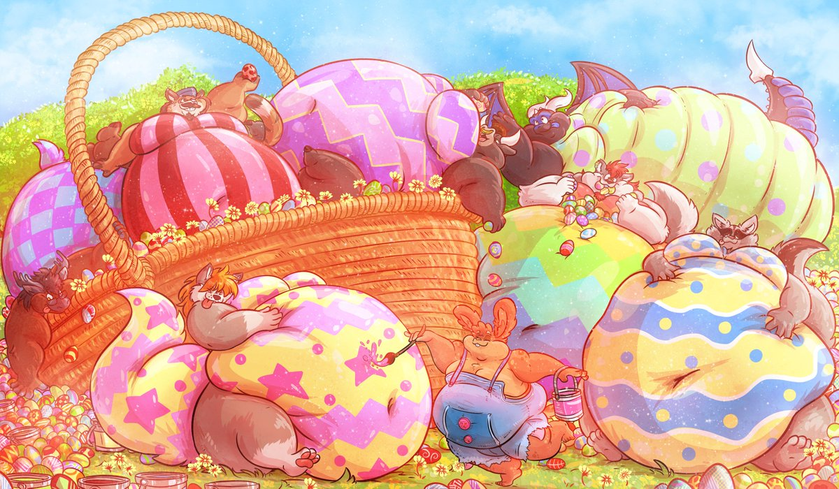 http://www. furaffinity.net/view/30924413/  &nbsp;    The Easter Bunny spends practically all year preparing for his special day on his ranch! Each individual easter egg takes a great deal of chocolate and love to produce, but not before the finishing touches: The individual unique painted patterns! <br>http://pic.twitter.com/lGGjS6njc0