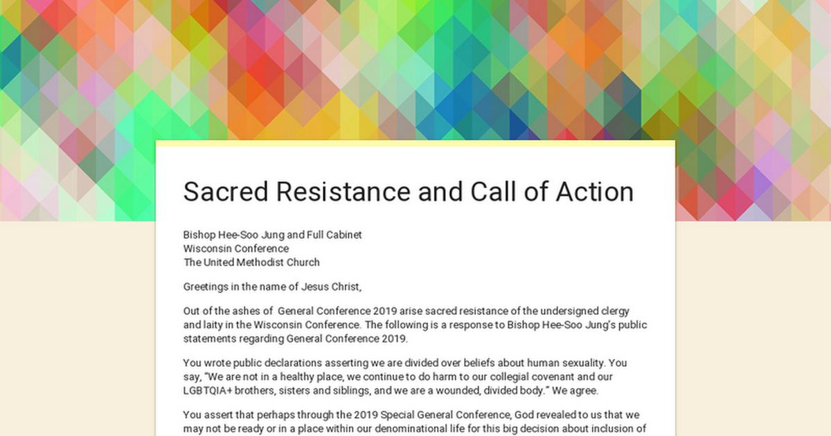 This is a call to sacred resistance from the Wisconsin Conference. If Wisconsin is your annual conference, there's still time to sign on: https://buff.ly/2JvuCJD  #foreveryoneborn #umc #umcgc