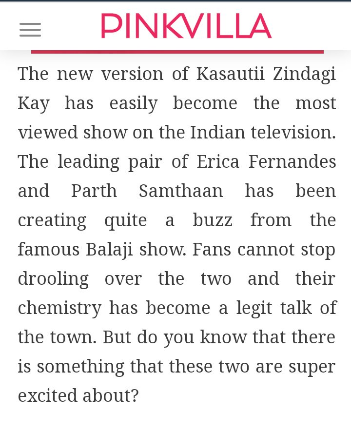 Serving this with pleasure on your face haters  Read this ,Read this again  &quot;Television Favourite&#39;s Jodi #ParthSamthaan &amp; #EricaFernandes &quot;  #PaRica Rocked  &quot; The New Version of #KasautiiZindagiiKay has easily become the most viewed show on ITV &quot; Thanks @PinkvillaTelly for this<br>http://pic.twitter.com/uJ6w2HAlm6