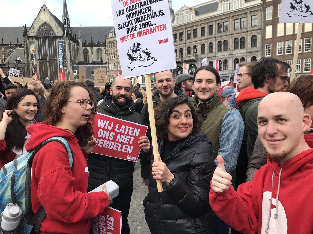 Mars tegen discriminatie en racisme in Amsteram gaat beginnen! @SPnl volop present, lang leve de internationale solidariteit! Met @SP_Amsterdam @SadetKarabulut @Daphne_Breugel @DiyarJassim @CemLacin en nog vele, vele andere strijdbare kameraden!