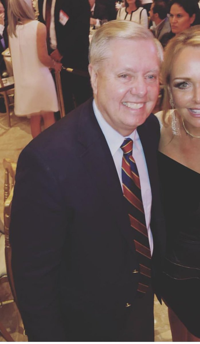 Here's a photo of Lindsey Graham at Mar-a-Lago last night. He received praise from Trump who even talked about how great of a friend Lindsey is. Following Trump's attacks on Senator McCain this week, it's clear @LindseyGrahamSC is no friend of McCain's. Lindsey's pathetic.