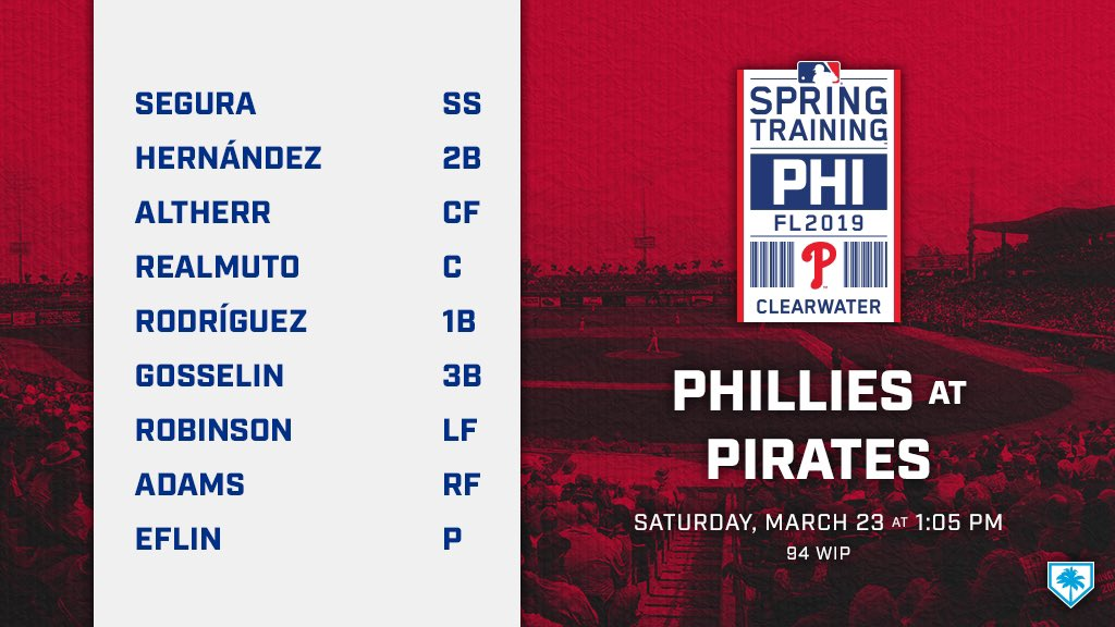 We're playing our Pennsylvania pals today ... but in Florida.   Here's how we line up! ☀️