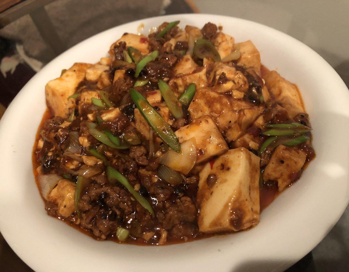 レシピ通りに材料と調味料を全て揃え、分量も完璧に計って陳麻婆豆腐を完成させたら脳天に雷が落ちるほど美味い麻婆豆腐が出来ました。