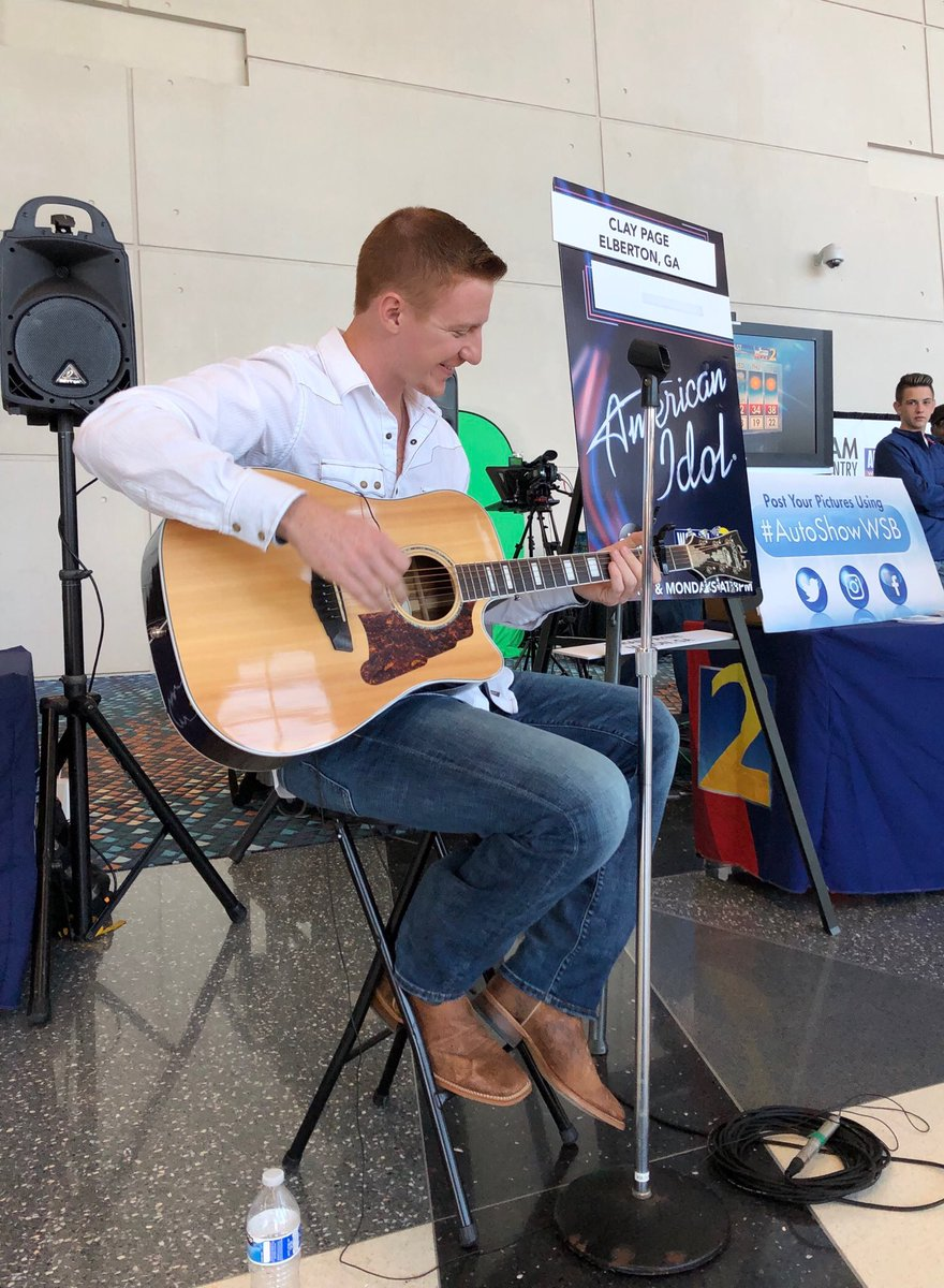 Get down here to #AIAS19!  @AmericanIdol's Clay Page from Elberton, Georgia is here performing at the @wsbtv booth in the C Building lobby. Come say hi! #Atlanta #autoshow